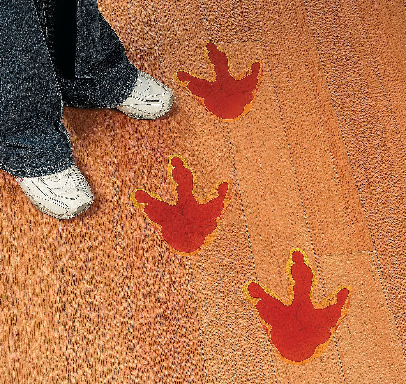 Fun Express Large Dinosaur Foot Print Floor Decal Clings - 12 Pieces
