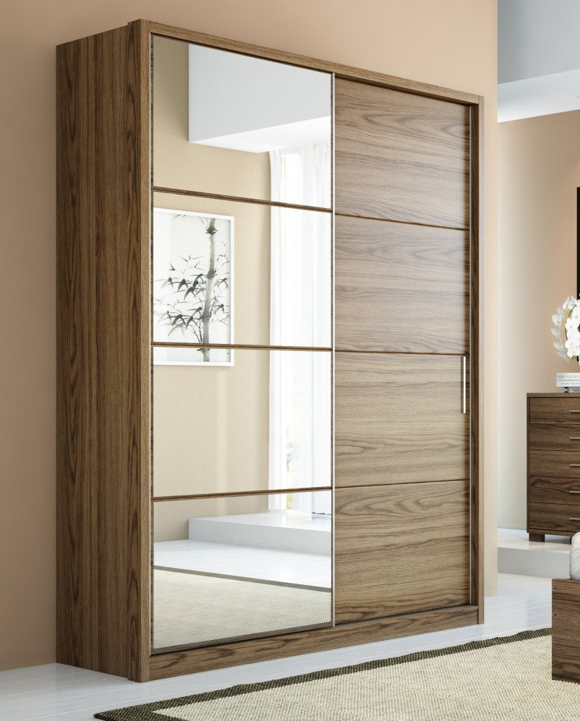 Buy Manhattan Comfort Bellevue 2 Sliding Doors Wardrobe In Chocolate