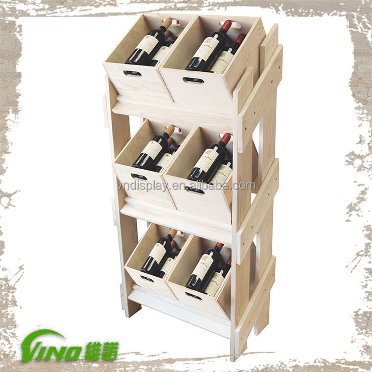 pr sentoir en bois pin bois bo tes vin en bois bouteille de vin rack support d 39 affichage id de. Black Bedroom Furniture Sets. Home Design Ideas
