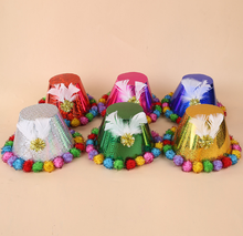 Christmas hat wholesale trade,Cute feather party christmas hat,Hair ball fashion magic paper cap