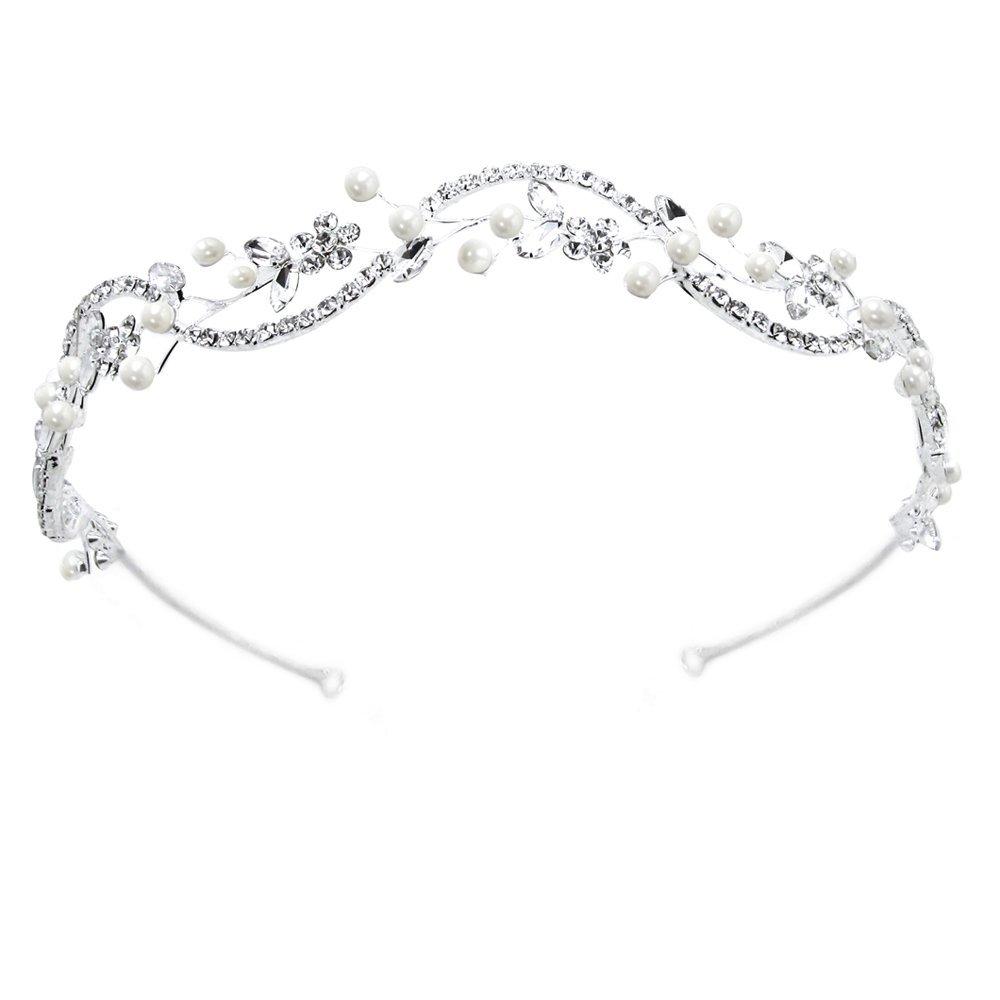 Sparkly Bride Wedding Headband Simulated Pearl Floral Wave Rhinestone Bridal Hair Accessory Headpiece