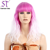 Wholesale Half Pink Half White Wig Synthetic Kinky Curly Long Wig For Halloween