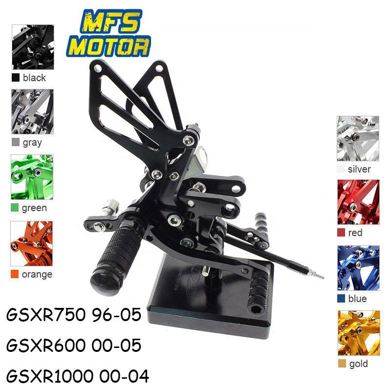 Billet Aluminum Adjustable Footpegs Footrests Rearsets Suzuki 01-14 GSXR1000