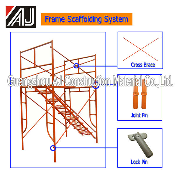 Guangzhou factory wholesale h frame type q235 steel scaffolding