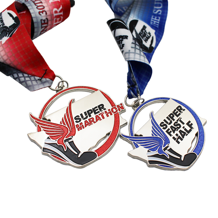 Metal Sports Gold Silver Copper Colorful Engraved 3D shoe double wing taekwondo super fast running half marathon medals