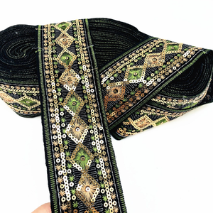 Re-ancient Ethnic Sequins Embroidery Shoe Material Lace /Bag Belt Garment Machine Embroidery Lace Ribbon