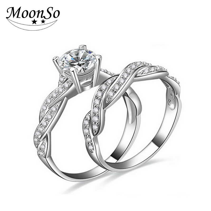 925 Sterling Silver CZ Diamond Engagement Wedding Set Ring For Women Bridal Fashion Jewelry Set AR751S