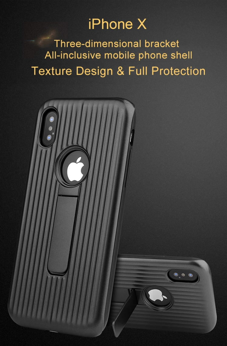 2018 Wholesale Dropshipping New For iphone X Silicone & PU Striped Texture Two In One Metal Phone Case with Holder Phone Case
