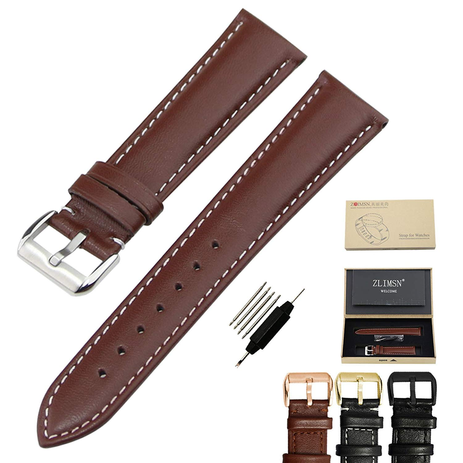 ZLIMSN Leather Watch Strap Watch Band Wrist Replacement Pin Buckle Super Soft (18mm, 20mm 22mm Or 24mm)