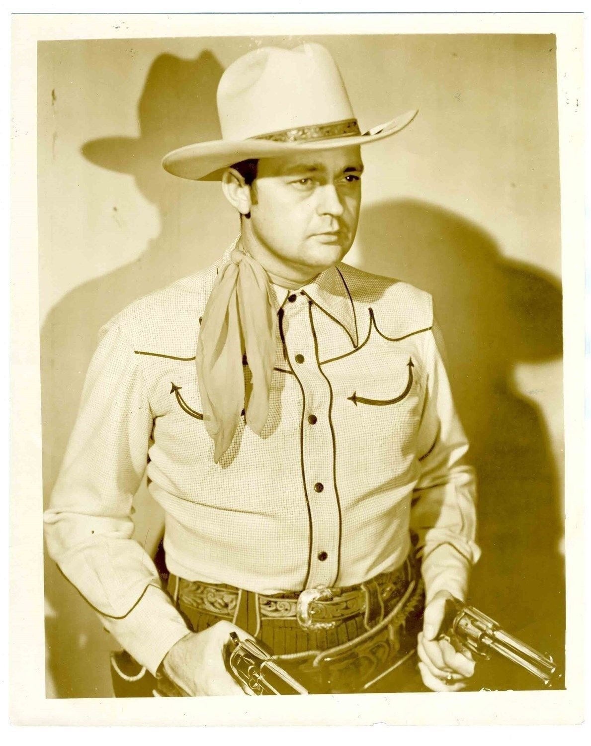 Bill Boyd 8 x 10 Photo with Guns Drawn 1930's Singer and Cowboy Actor