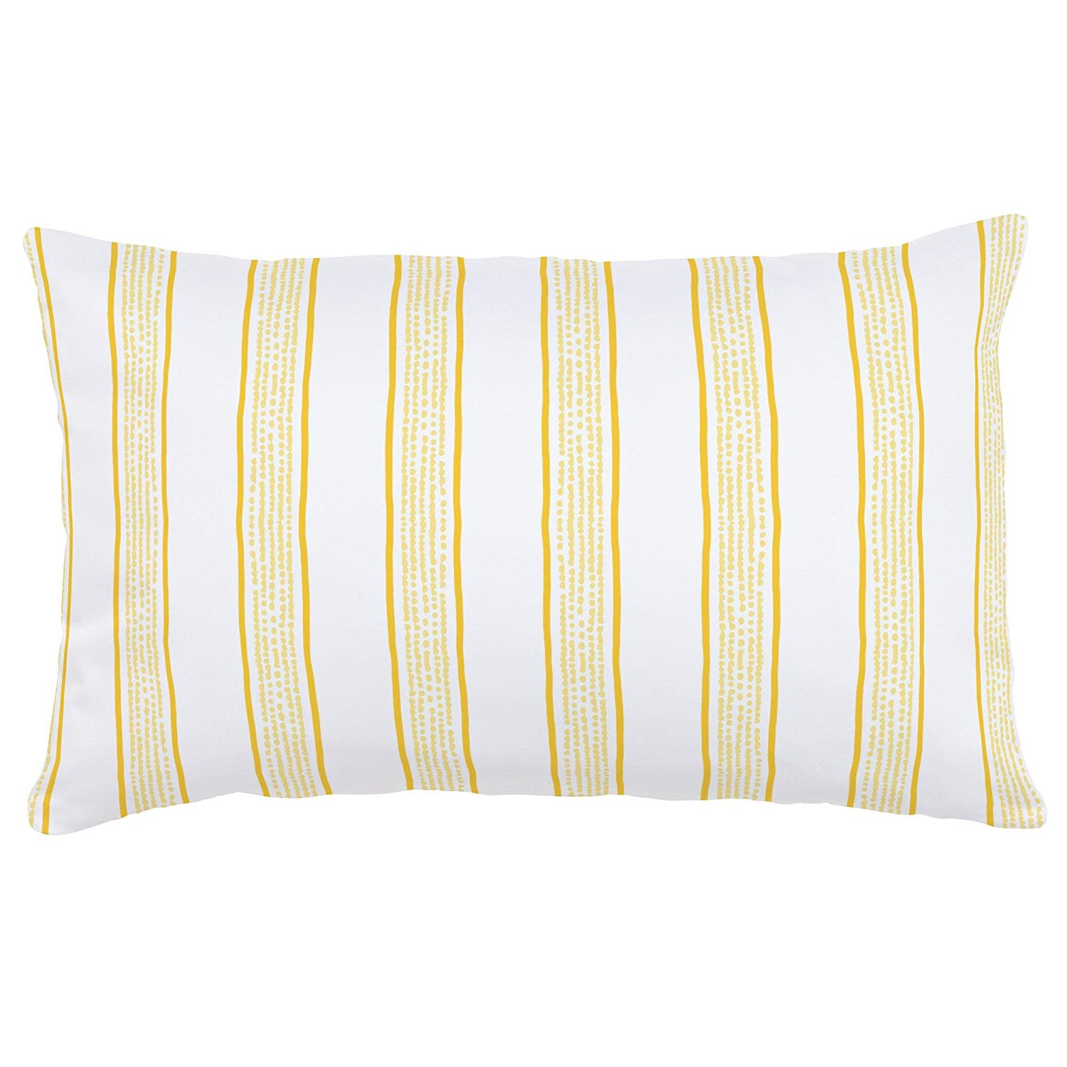 Carousel Designs Yellow Beach Stripe Lumbar Pillow - Organic 100% Cotton Lumbar Pillow Cover + Insert - Made in the USA