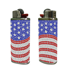 Rhinestones american patriot design lighter case. Compatible with large BIC lighters.