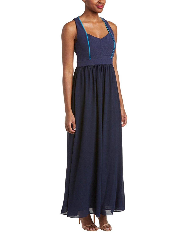 Get Quotations · Badgley Mischka Navy Womens Penelope Ruffle Maxi Dress  Blue 10 1c0835df328d
