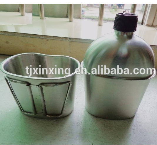 Military stainless steel food canteen with cups for army