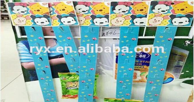Supermercato pp di plastica appeso clip di strisce display gancio striscia