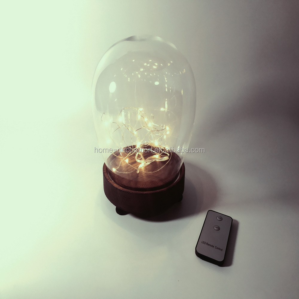 remote control special design glass cloche bell jar with led string lights for sale