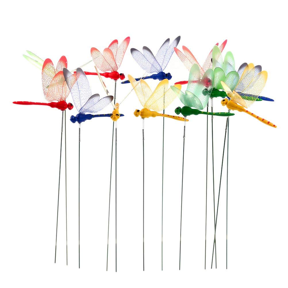 24 Pcs Dragonfly Stakes Dragonflies On Sticks 3D Artificial Dragonfly Patio Garden Decor Yard Planter Colorful Whimsical Dragonfly Ornaments Plant Stems for Flower Pot Dragonfly Party Supplies Crafts