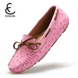high quality microfiber upper slip on shoes Fake Ostrich autumn girls loafers shoes beautiful flat casual female zapatillas