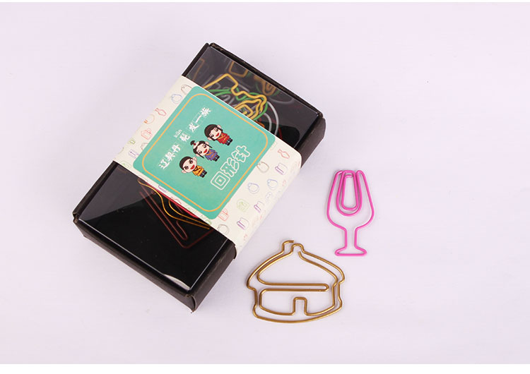 Lower moq creative promotional gift custom shaped metal paper clip
