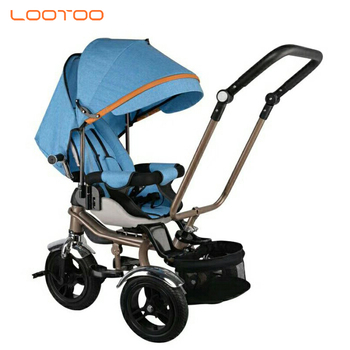 Wholesale plastic large fat tire 360 rotary adjustable seat 4 in 1 baby tricycle with umbrella music and light for russia