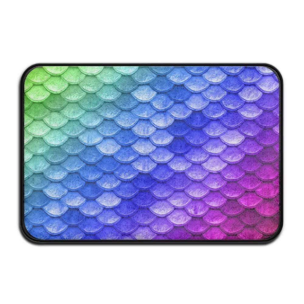 HOMESTORES Non Slip Coral Velvet Bathmat Absorbent Bath Rugs 17x24 Inch Memory Foam Bath Mats With Anti-Skid Bottom - Beautiful Mermaid Fish Scales Art