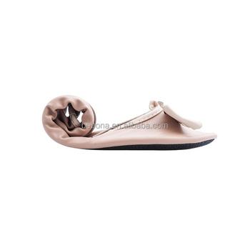 Bebona Womens Foldable Ballerina Wedding Ballet Flats Shoe With Bag