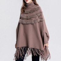 ladies autumn pullover tassel turtleneck batwing sleeve poncho sweater