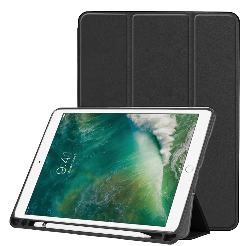 Ultra Slim Tri-Fold smart cover case with Pencil holder for <strong>ipad</strong> air / air 2 / for <strong>ipad</strong> 9.7 2017 / for <strong>ipad</strong> 9.7 2018