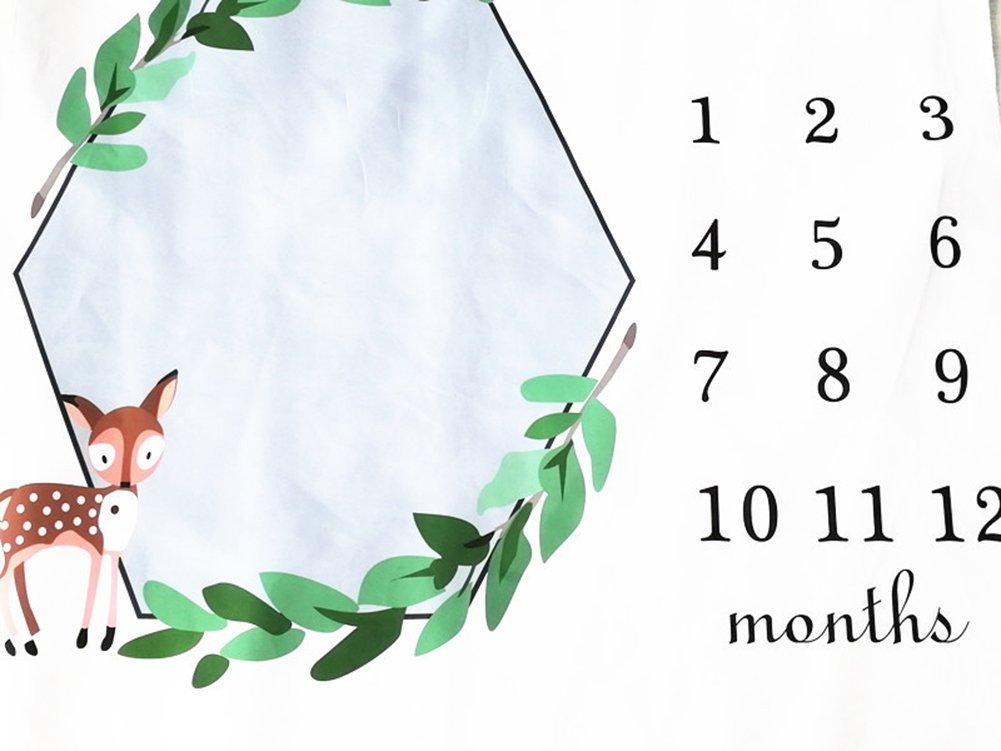 Milestone Blanket,Baby Girl Boys Monthly Old Picture Spring Green Fawn Milestone Blanket Photo for Newborn,Baby Swaddling Blanket for Photography Background