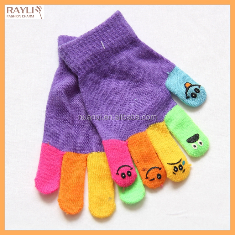 Cable Knit Cheap Kids Mitten Funny Cute Colored Magic Children Gloves Wholesale