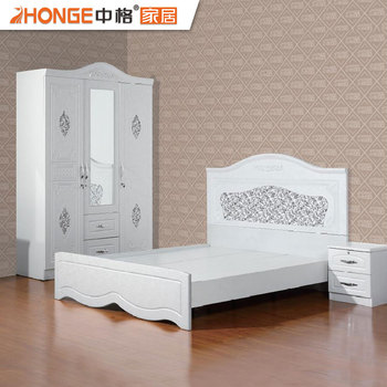 Cheap Wholesale White Pvc Finished High Gloss Beautiful Bedroom Furniture  For Sale