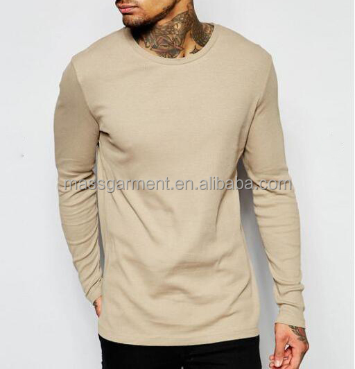 MS-1621 OEM Shirt 100% Cotton Clothing Men's Plain Long Sleeve Tee Custom Round Neck Cotton T-shirt