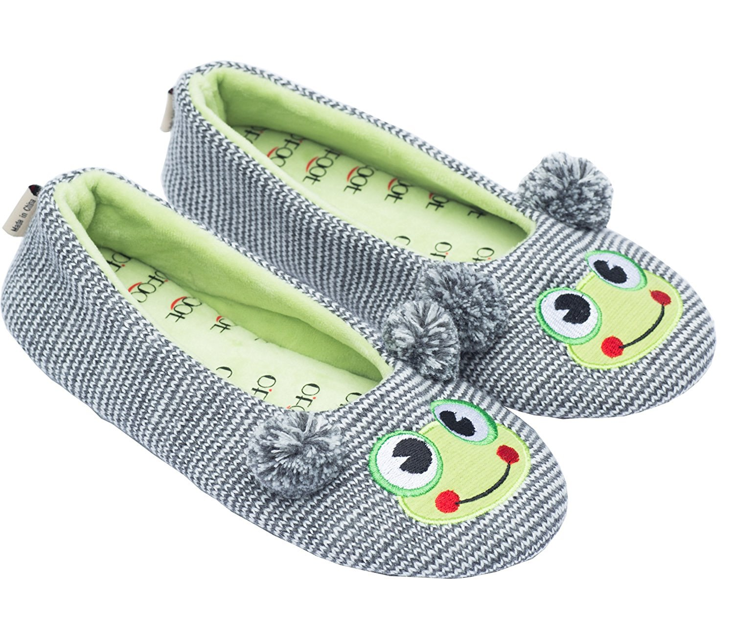 Ofoot Women's Cute Soft Ballerina Slipper,Frog,Owl,Raccoon,Sweater Knit Slippers for Ladies/Girls,Anti-Slip TPR Sole