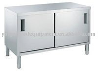 2014 new double door stainless Preparation table with storage cabinet