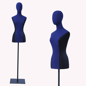 Adjustable hanging tailor bust dress form for women,fabric wrapped covered female torso mannequin for tailors dressmaking