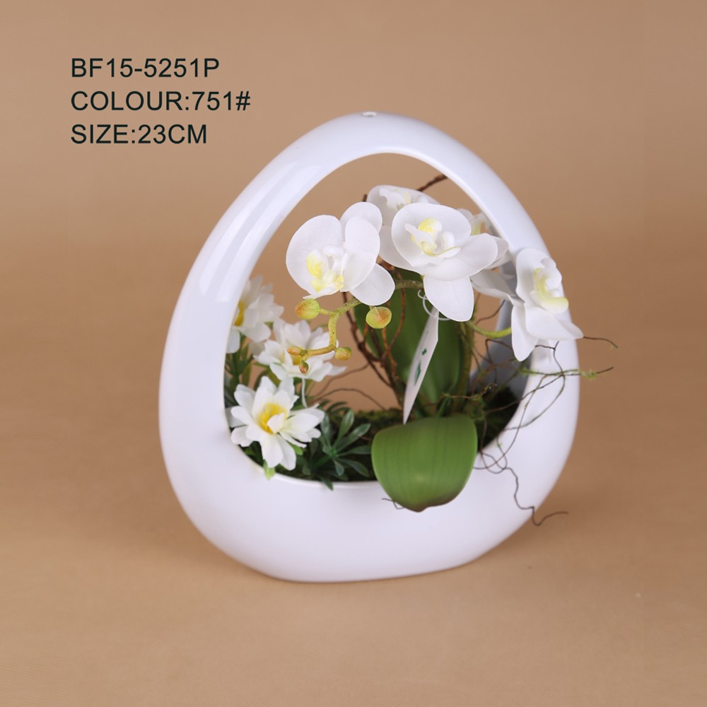 Artificial white orchids flower arrangement with hanging ceramic pot