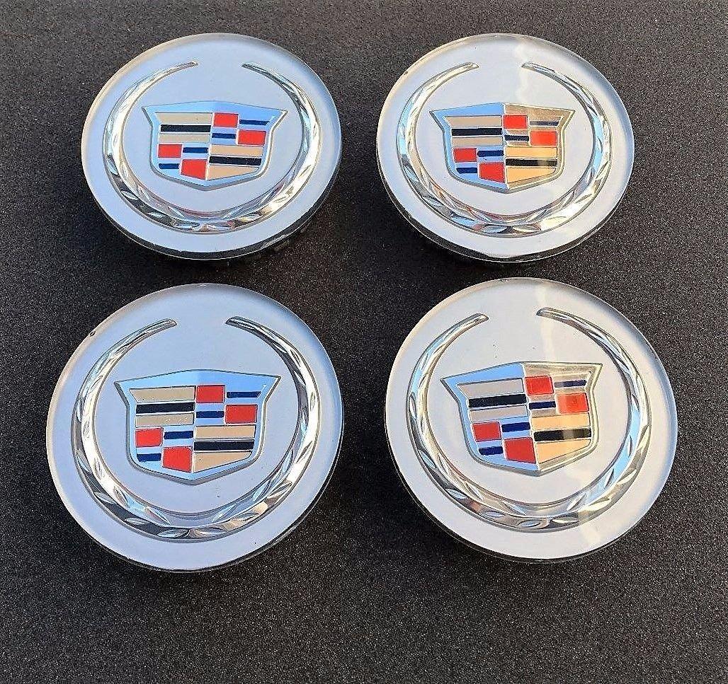 NEW 4pcs Set of 4 CADILLAC Silver CENTER WHEEL HUB LOGO CAPS EMBLEM 9597375 / 9596629 **US Stock**