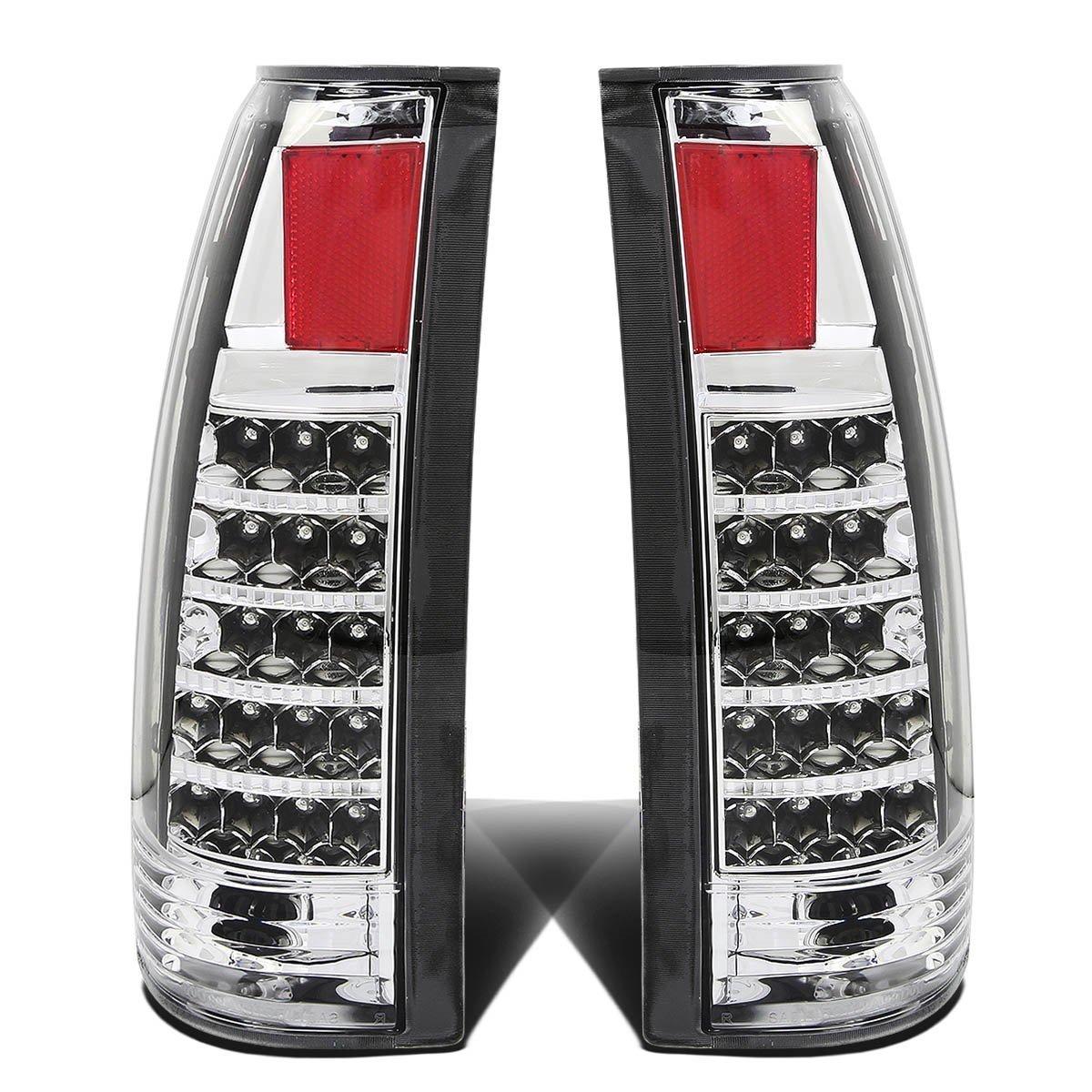 Rxmotor Chevy C1500 C2500 C3500 Full Size Blazer Tahoe GMC Yukon Suburban 1500 2500 Pickup Tail Light LED Rear Brake Lights Lamps Lamp Pair (Clear Chrome)