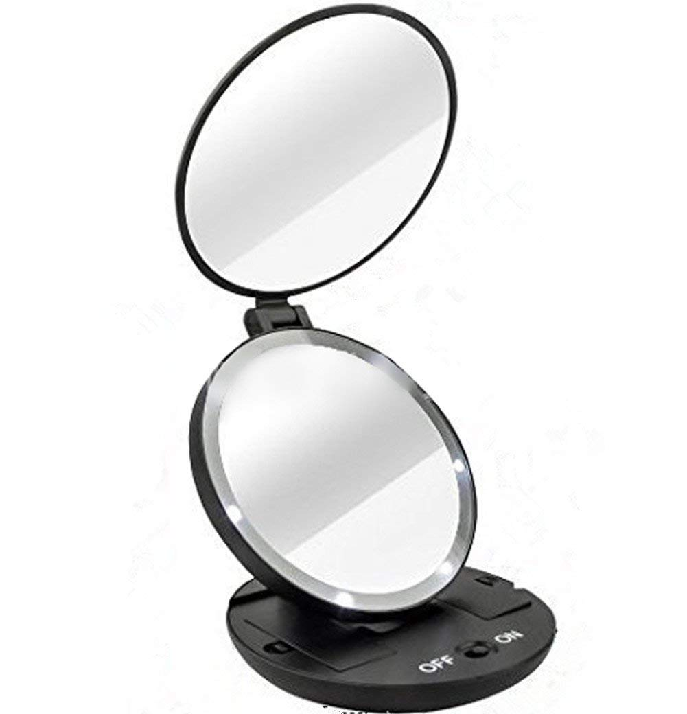 02ece16317 Get Quotations · Pevor Mini Makeup Mirror LED Light Cute Pocket Compact  Portable Hand Hold Oval Mirror Cosmetic Tool
