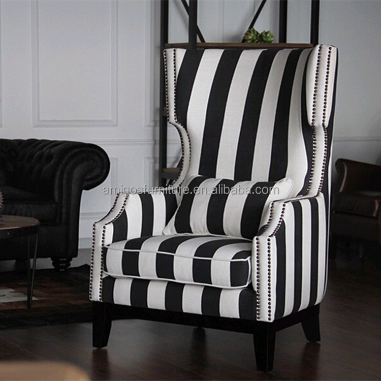 Cool Black White Stripe Fabric Wing Chair View Stripe Fabric Dining Chairs Amigos Product Details From Foshan Amigos Furniture Manufacture Factory On Dailytribune Chair Design For Home Dailytribuneorg