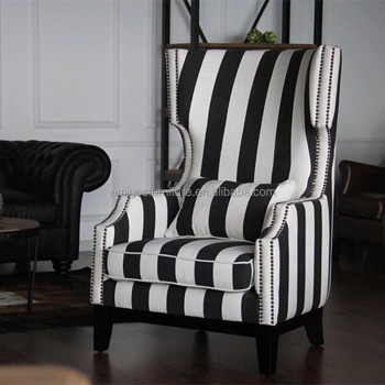 Black White Stripe Fabric Wing Chair