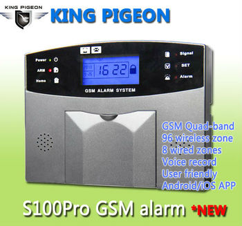 King Pigeon S100pro Quad-band Lcd Display Keypad Voice Guide Gsm Alarm  System 96 Wireless+8 Wired Zone Free Andiod Ios App - Buy Voice Gsm Alarm