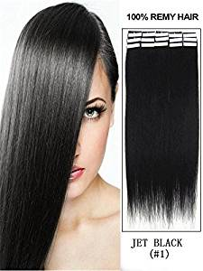 """20 Pcs 16"""" 18"""" 20"""" 22"""" 24"""" Inches Remy Pu Tape Skin Weft 100% Human Hair Extensions 19 Colors (20"""" 50g 20pcs, #1 jet black)"""