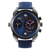 WJ-6164 denim double movement Oulm quartz men wrist watch
