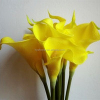 home decoration artificial flower wedding PU yellow calla lily