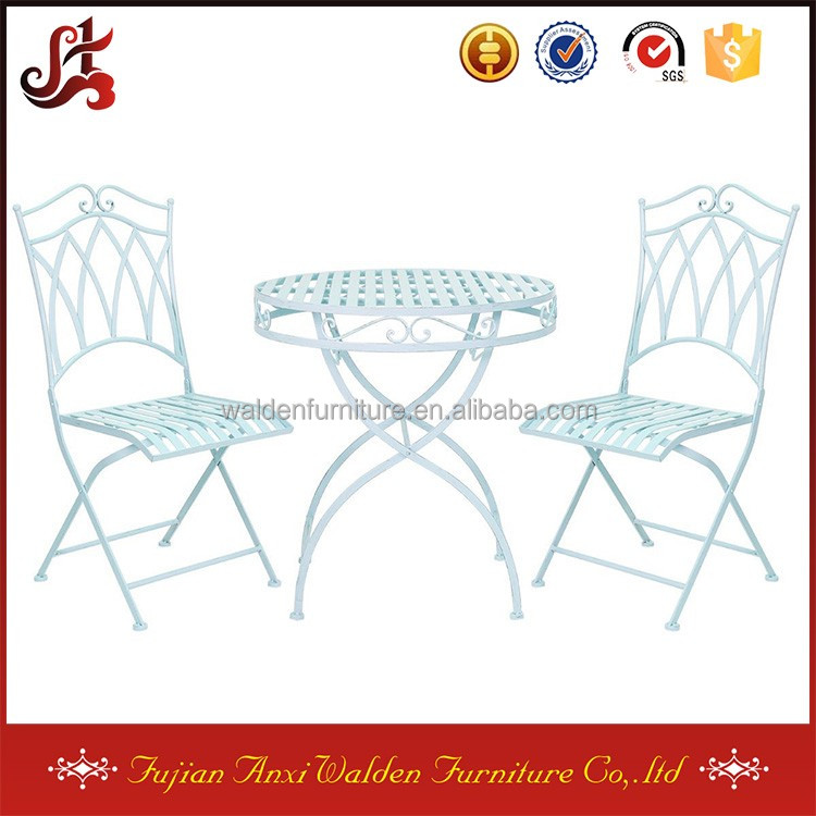 3 Piece Blue Wrought Iron Pastel Bistro Set Table with 2 Chairs