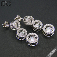 Dancing Diamond Drop Earring 925 Sterling Silver Dancing Stone Jewelry Wholesale DR030877E