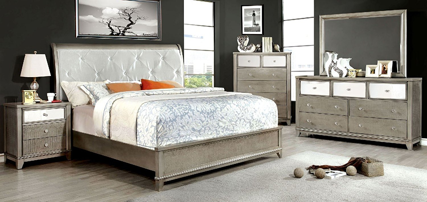 Esofastore Bryant Collection Bedroom Furniture Silver Modern Platform Bed  Padded Leatherette HB Solid Wood Queen Size