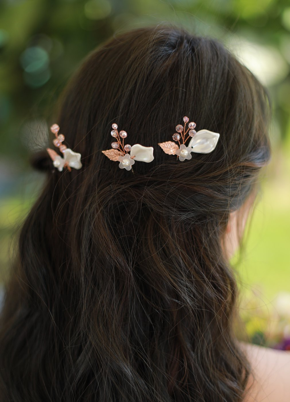 7cb6ad373 Get Quotations · Missgrace Bridal Crystal Leaf Imitation Pearls Small Rose  Gold Hair Pins Women Crystal Headpiece Wedding Rose