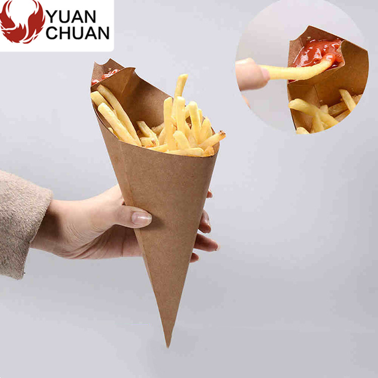 Kraft cardboard food fries paper cone box with sauce